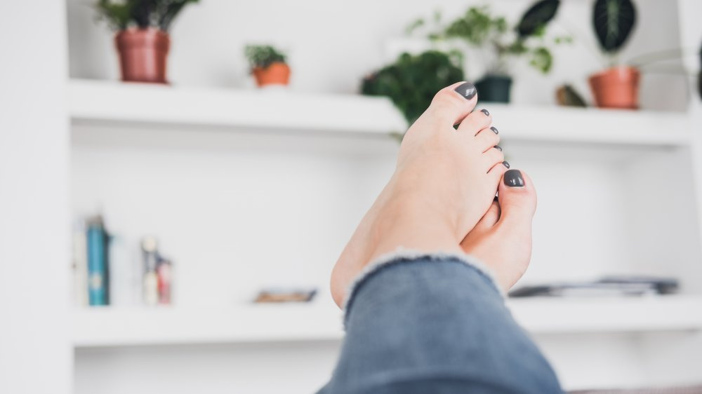 Woman with painted toes