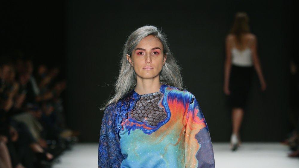 Model with titanium hair