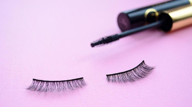 false lashes and mascara