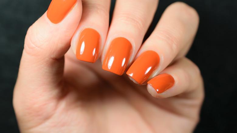 Fiery orange nail polish color