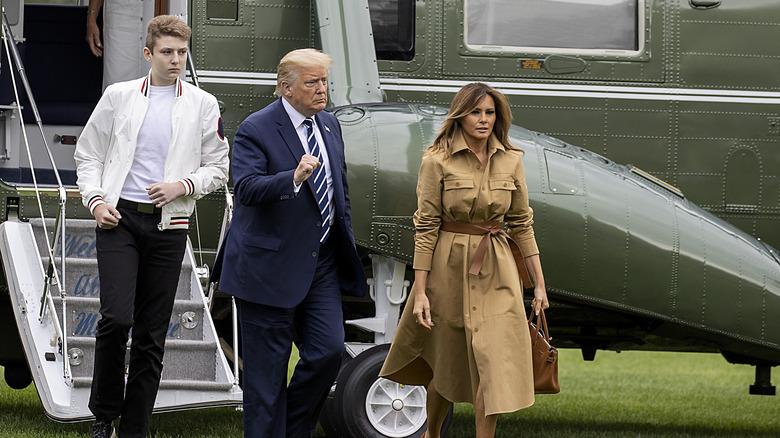 Barron Trump with President and Melania Trump