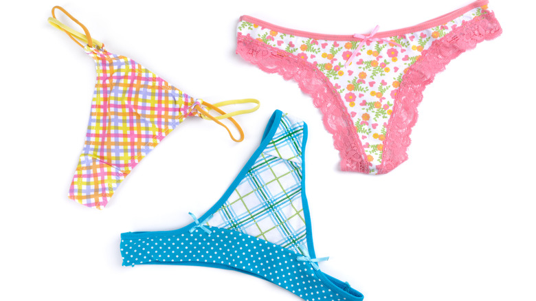 Colorful thong panties isolated on a white background.
