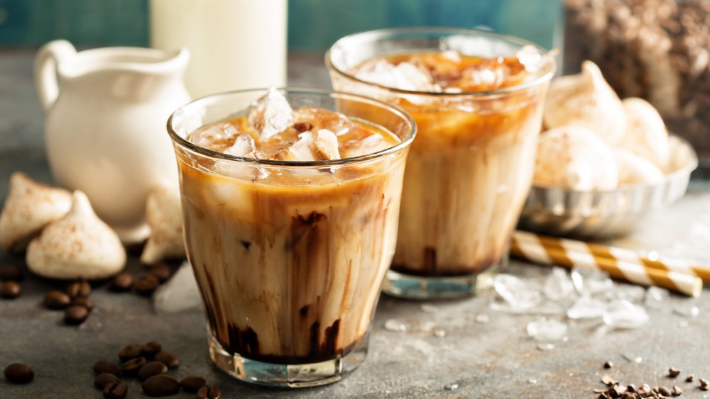 iced coffee with flavored syrup