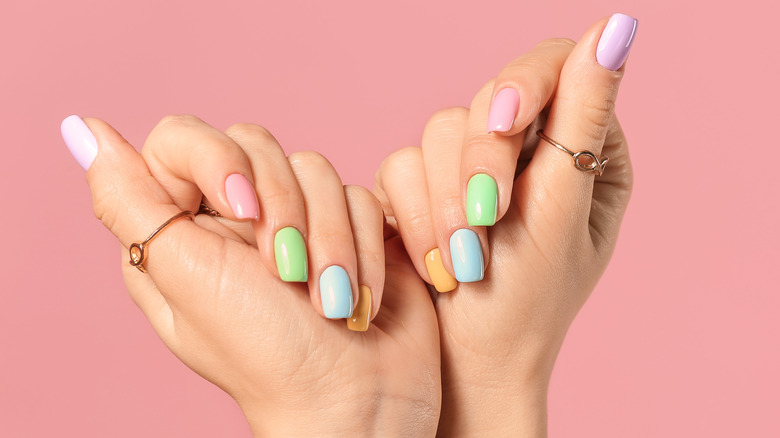Nail polish on woman