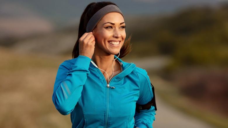 A woman jogging outside