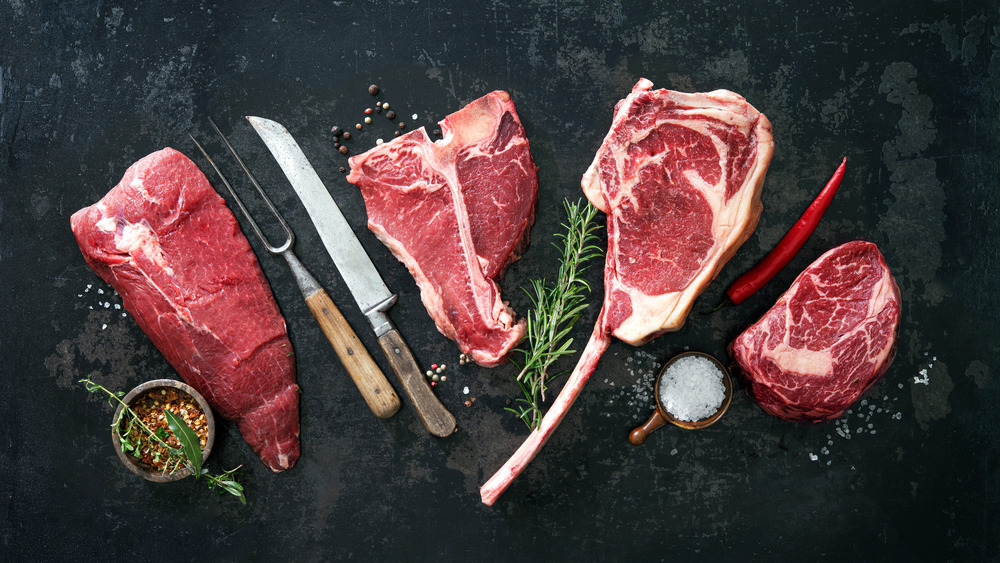 red meat on chopping board