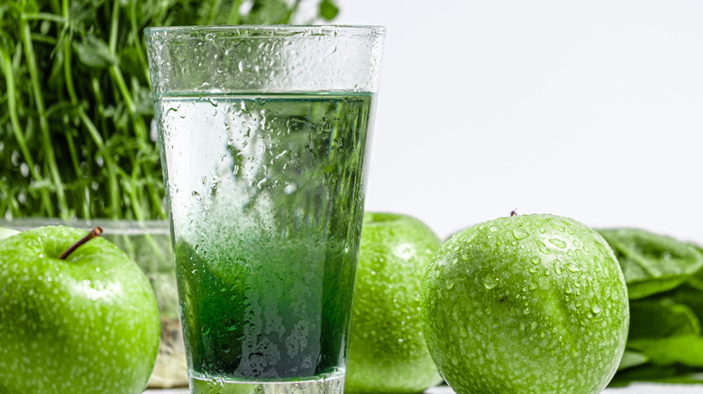 Glass of water with chlorophyll
