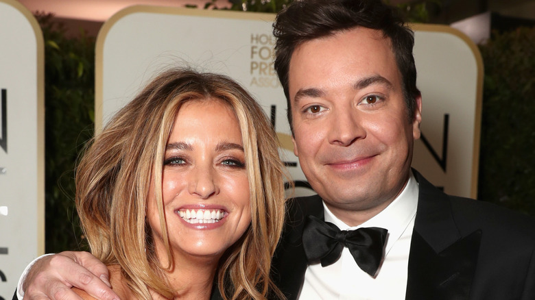 Nancy Juvonen and Jimmy Fallon at the Golden Globes