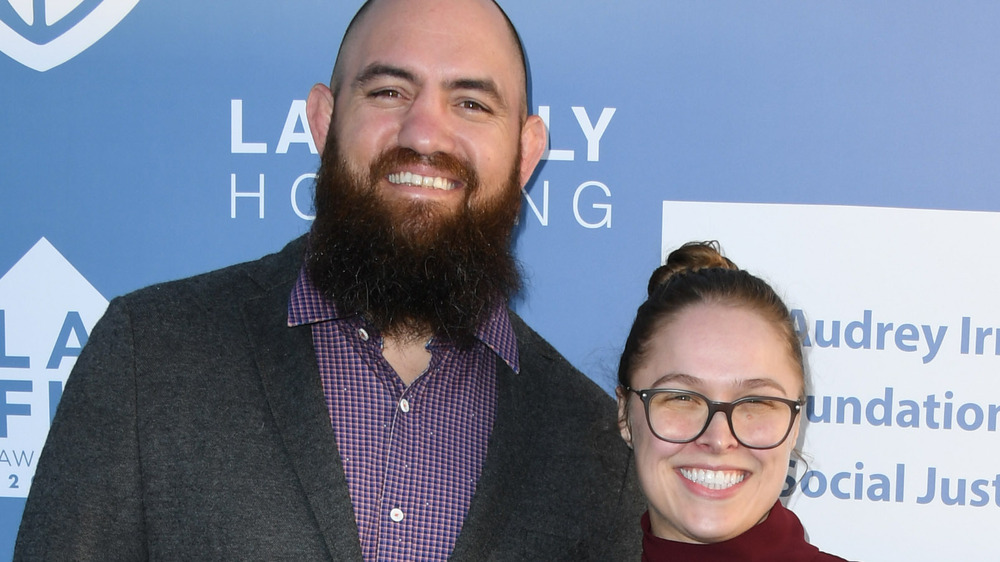 Ronda Rousey and Travis Browne at event
