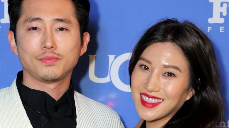 Steven Yeun, Joana Pak posing