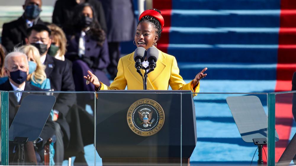 Amanda Gorman speaking at Biden's Inauguration