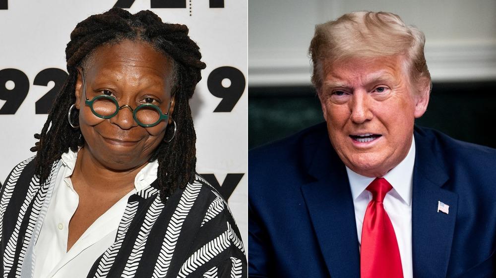Split image of Whoopi Goldberg and Donald Trump