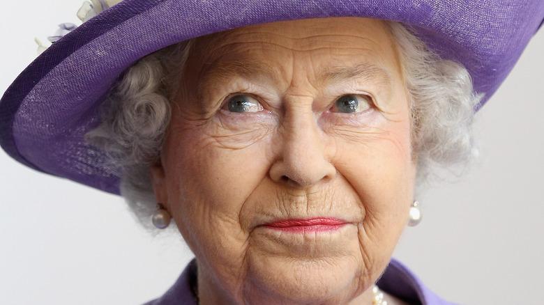 Queen Elizabeth in purple
