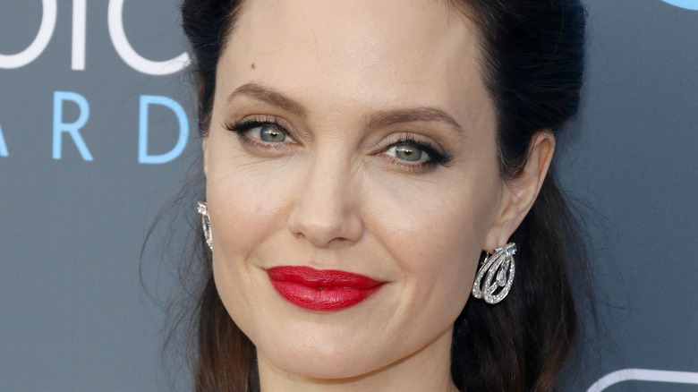 Angelina Jolie with bright red lips
