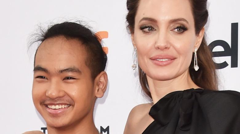 Angelina Jolie and Maddox smiling