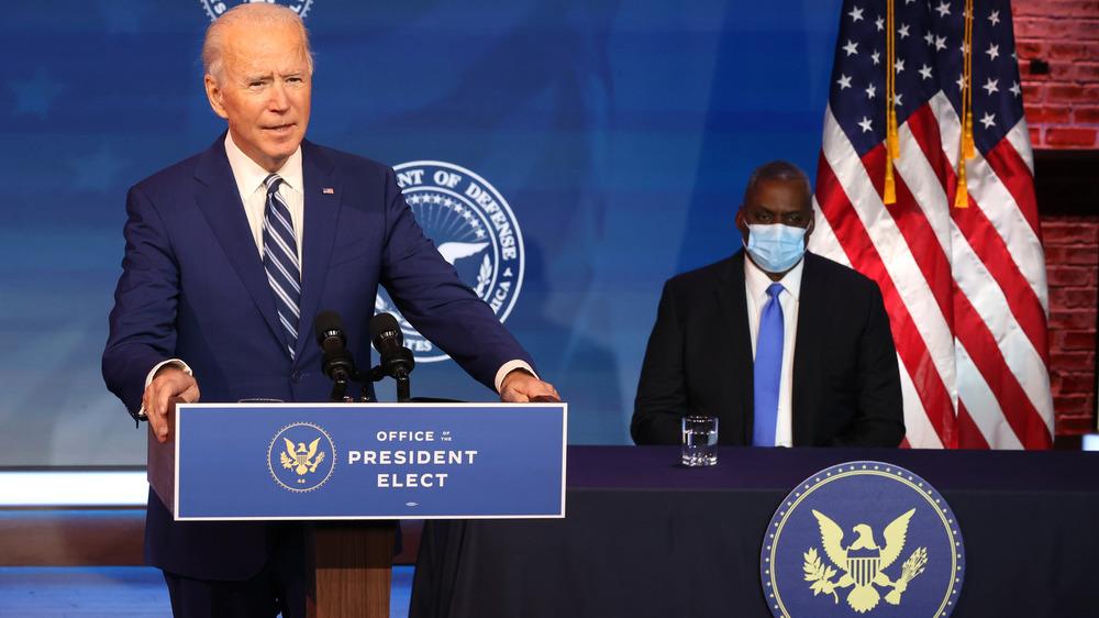 President Joe Biden at the podium
