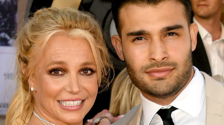 Britney Spears and Sam Asghari on the red carpet.
