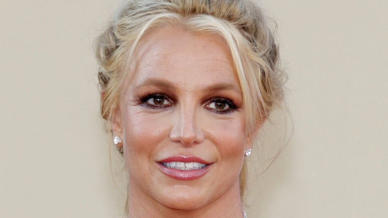 Britney Spears close up with her hair back