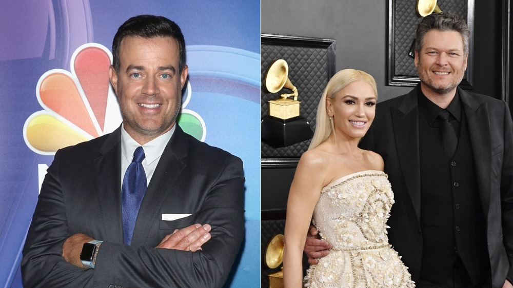Carson Daly arms crossed in suit / Gwen Stefani and Blake Shelton in Black and White formal wear