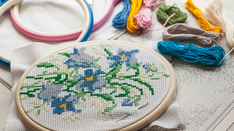 Cross-stitch and embroidery hoop