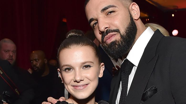 Millie Bobby Brown and Drake embracing