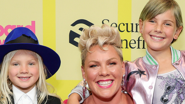 Pink with daughter, Willow, and son, Jameson