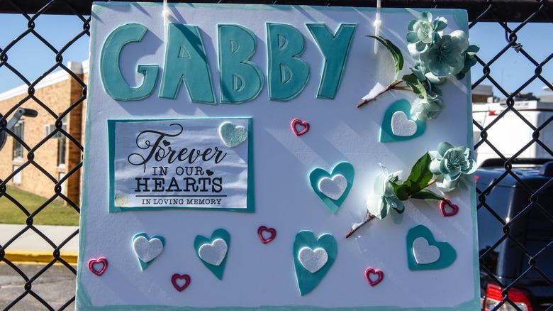 memorial sign for Gabby Petito