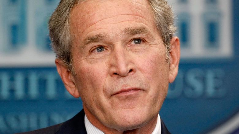 George W. Bush looking up