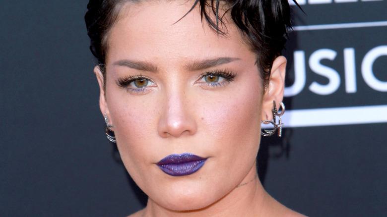 Halsey wearing purple lipstick
