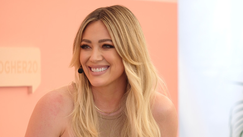 Hilary Duff smiles during interview