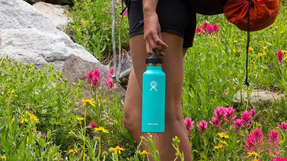 Hydro Flask carried during a hike