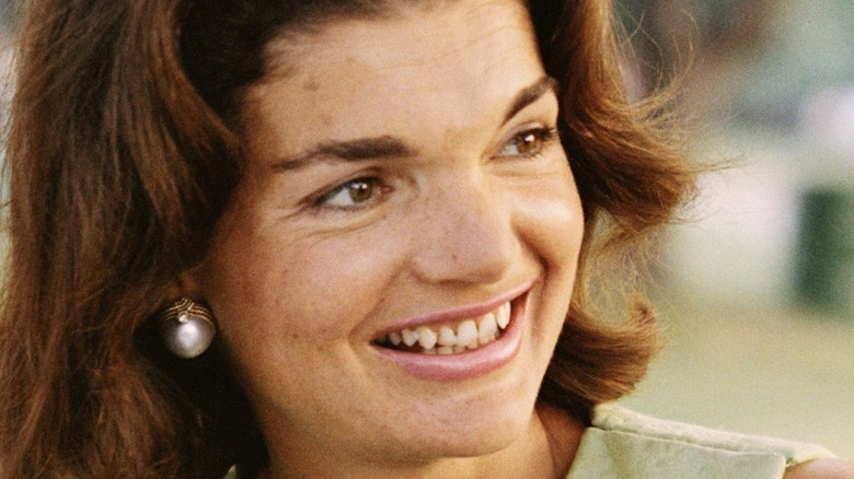 Jackie Kennedy wearing pearl earring