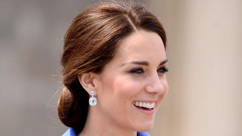 Kate Middleton Duchess of Cambridge wearing diamond earrings