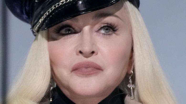 Madonna in black hat
