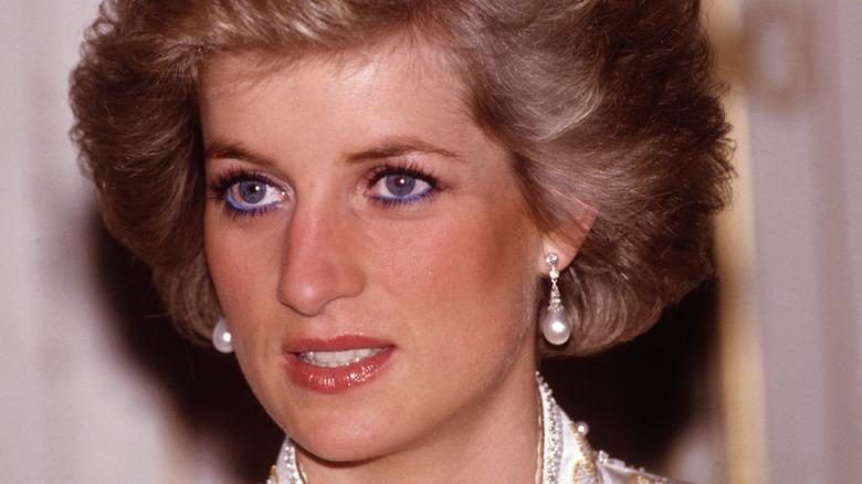 Princess diana with pearl drop earrings
