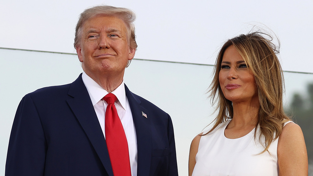 Melania and Donald Trump at the Salute to America in 2020