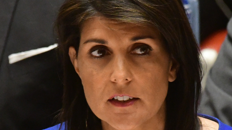 Nikki Haley in a blue suit at the UN, 2017