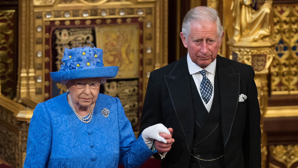 Queen Elizabeth and Prince Charles at event
