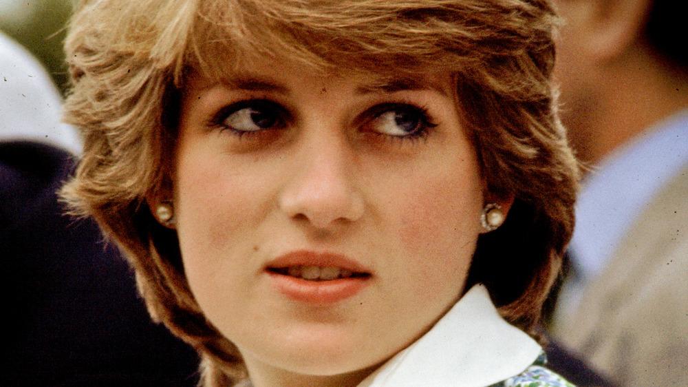 Princess Diana looking over shoulder