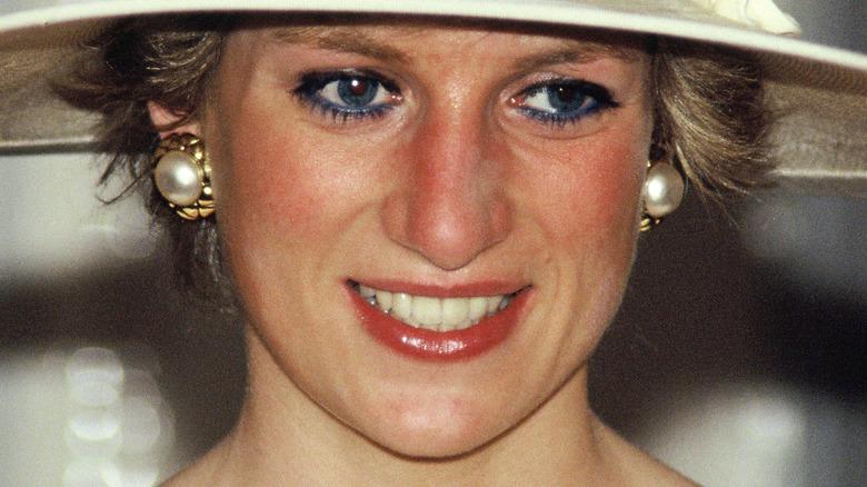 Princess Diana in white hat