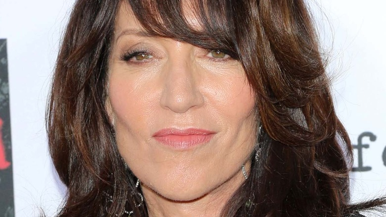 Katey Sagal looking serious with bangs and hair down