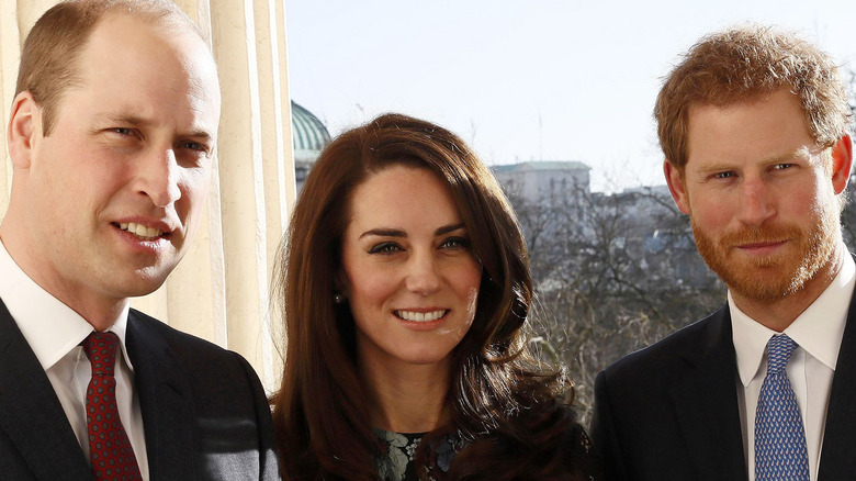 Kate Middleton, Prince William and Prince Harry smiling