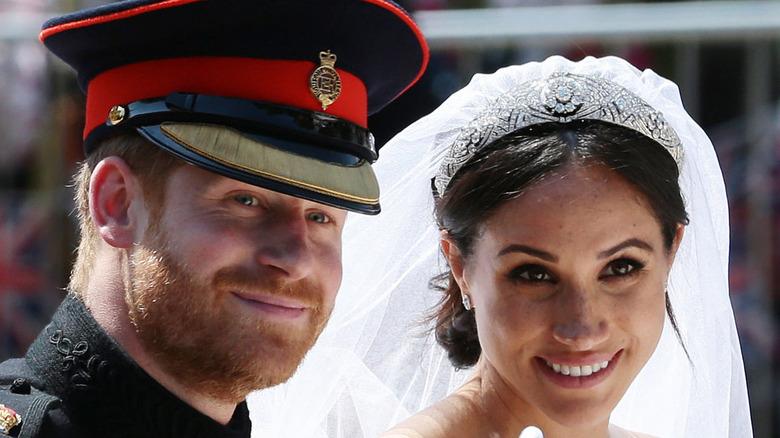 Prince Harry and Meghan Markle at the 2018 royal wedding