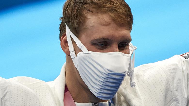 Chase Kalisz wearing bizarre face mask