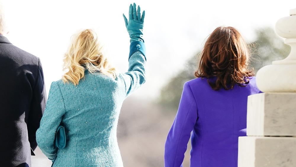 Jill Biden Kamala Harris waving
