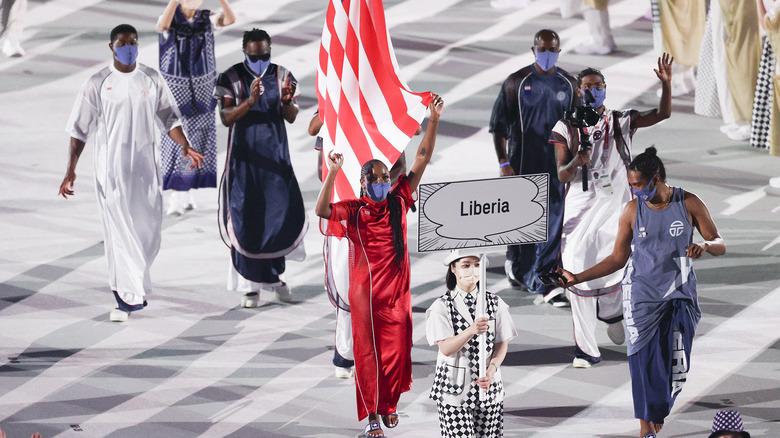 Liberian Olympic team walking
