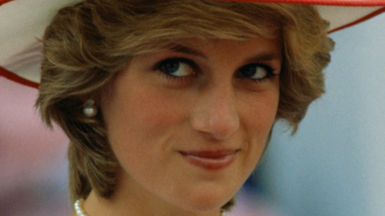 Princess Diana in red-and-white hat