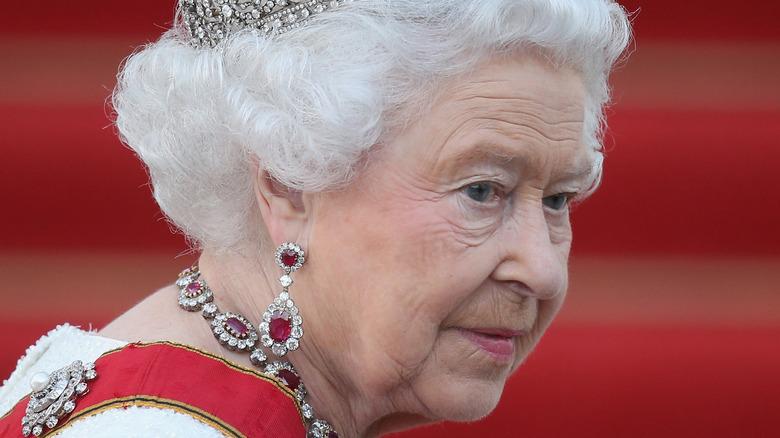 Queen Elizabeth looking solemn