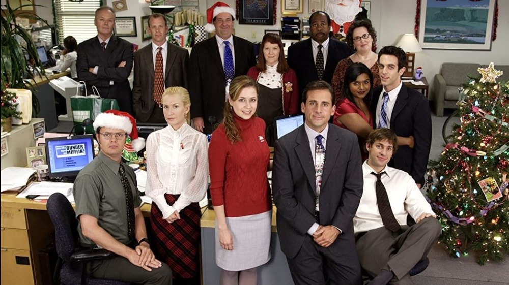 The cast of The Office posing
