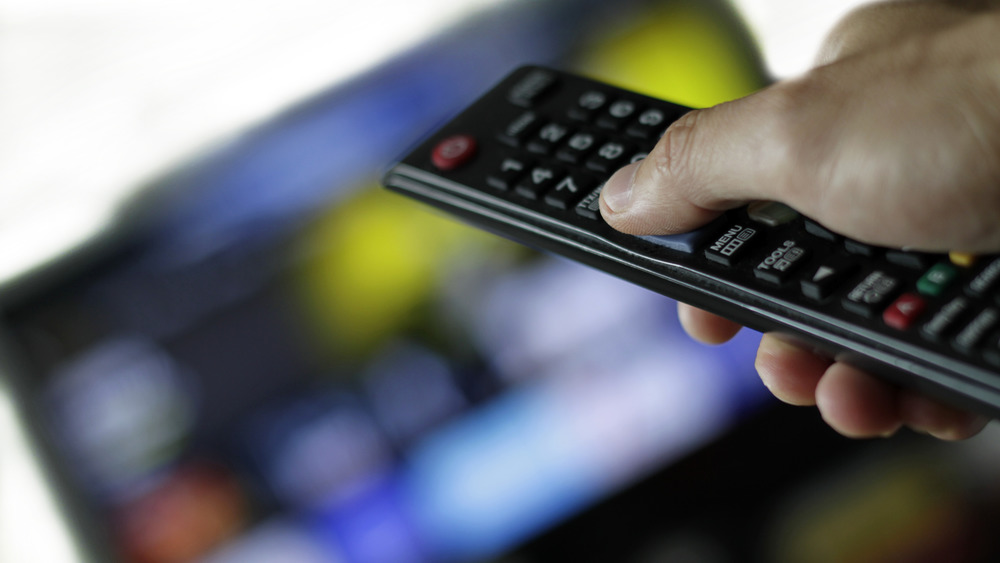 remote control aimed at TV